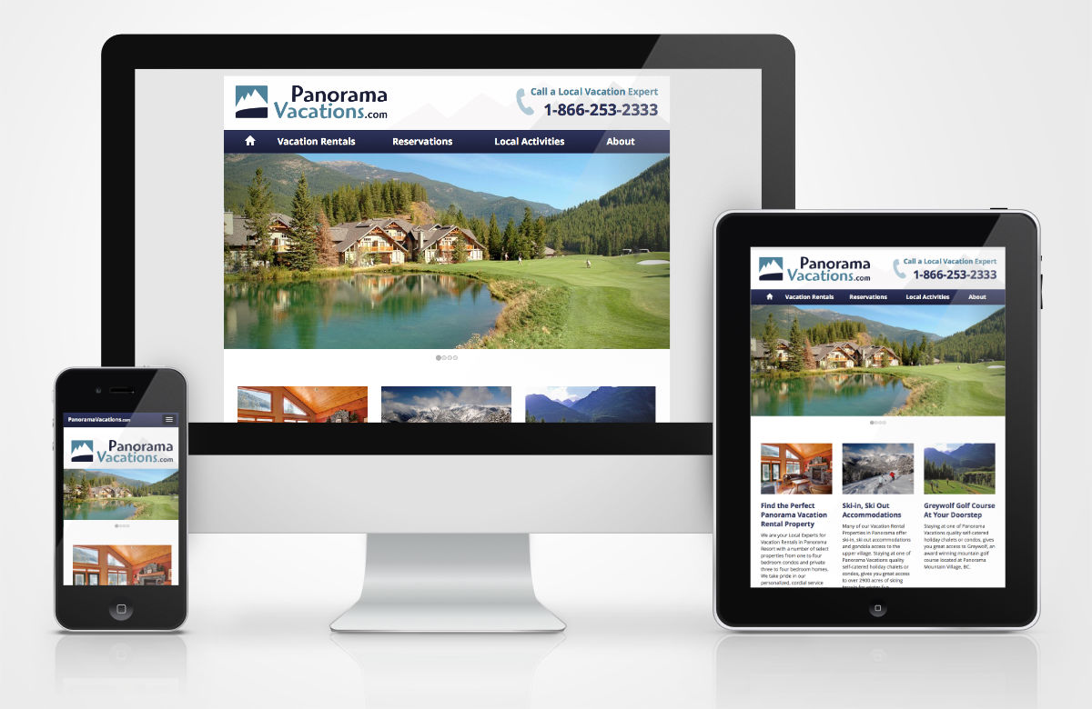 Panorama Vacations website on different devices sizes